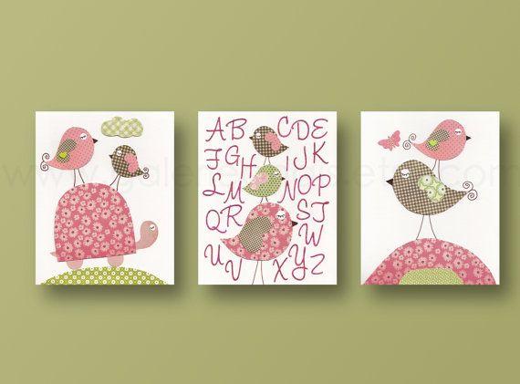 038  IMPORTANT: C'est un ensemble de tirages réalisés sur papier photo mat 89 lb qui devra être encadrée. Avant de passer commande, assurez-vous de lire la politique de magasin pour plus d'informations: https://www.etsy.com/shop/GalerieAnais/policy  Bébé décor de chambre de fille chambre d'enfant mur art pépinière impression enfants mur art bébé crèche alphabet tortue oiseaux ensemble de 3 impressions 8 x 10  Tortue et oiseaux à queue frisée apprendre leur alphabet ...