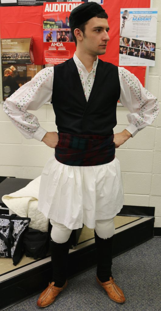 """#Macedonian Costumes - This is the #festive #costume from Episkopi, Emathia #Macedonia #greece , typically worn in the summer. It is known in the local dialect as the """"poukamiso"""" or the """"foustanela."""" The """"poukamiso"""" is tucked into #black #wool #trousers called the """"salvari"""" during the #winter . credit to #Hellenic #Dancers of #newjersey #usa"""