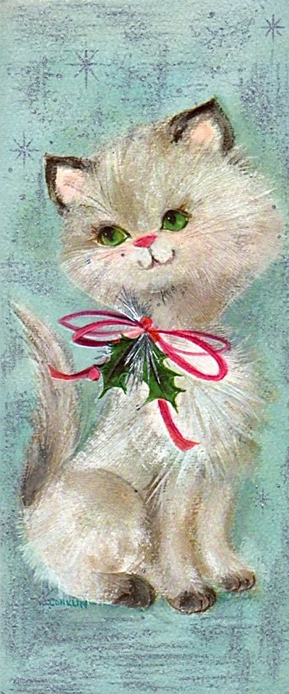 1960s Hallmarks Slim Jim Christmas card cat