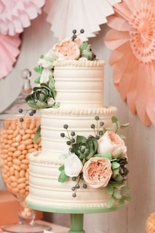 This cake was created especially for the launch of the new Minted Weddings collection.  Just LOVE the melon and mint colors!!  More info about the event can be found on Minted.com or on our blog.  Photos by the soft Charlie Juliet.