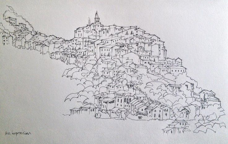 JMA Colin Usher - Pencil sketch of a town in Italy