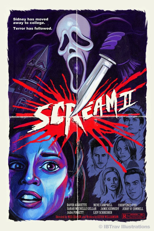 My entry into the Horror Movie Poster Art show here in Orlando FL this month: Scream 2.  Really happy the way this came out.  It's my homage to 80's slasher flicks and their posters. Took the late 90's horror resurgence and retro-ed it up a bit.
