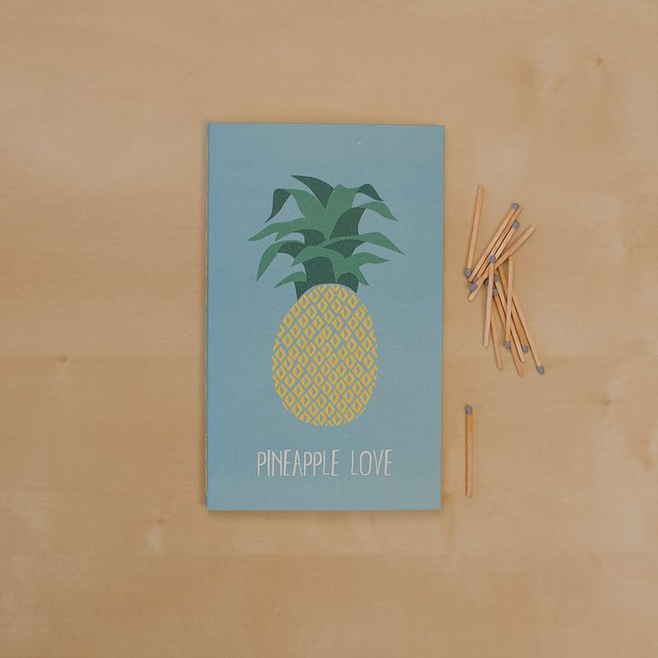 Pineapple love _Hand-stitched 40 page blank notebook _Sketchy Notebooks _www.sketchynotebooks.com