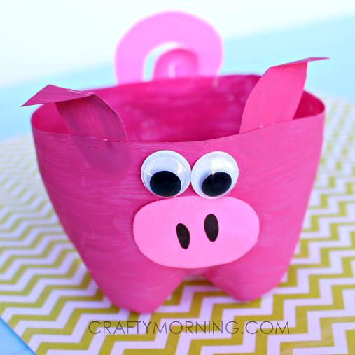2-Liter Bottle Pig Craft for Kids to Make - Crafty Morning