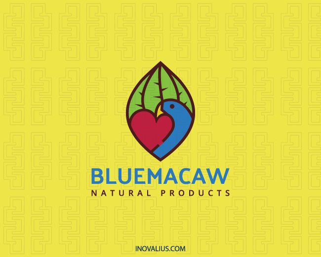 Stylized logo with the shape of a leaf in conjunction with a heart and a blue macaw with green, red, blue and brown colors.( environment, macaw, animal, bird, leaf, heart, natural products, nature, pet shop, lovely, parrot, bird feeder, nature birds,  logo for sale, logo design, logo, lototipo, logotype).