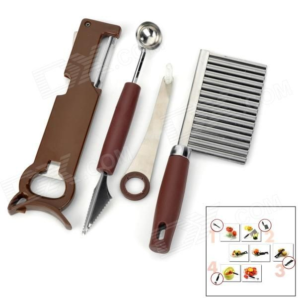 Brand: N/A; Model: 5100; Quantity: 1 piece(s) per pack; Color: Coffee + silver; Material: ABS + aluminum alloy; Function: Cutting into floral, strips, wave pattern or peeling; Other Features: Ideal for kitchen carving art of foods, fruit or vegetables; Packing List: 1 x Universal knife 1 x Floral knife 1 x Strip knife 1 x Spiral knife; http://j.mp/1nb63Lg