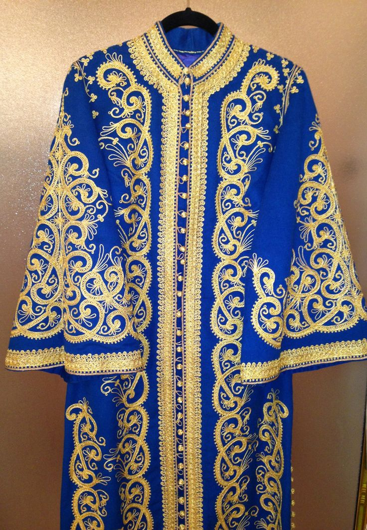 Beautiful All Hand Crafted, Royal Blue Wool Dress Coat (Dishdashay) Adorned With Delicate Gold Threading Embroidery of Intricate Arabic Design Pattern.  Just Gorgeous!