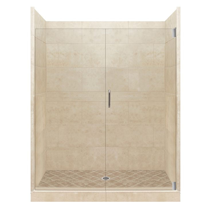 american bath factory sonoma medium solid surface wall stone composite floor 12piece alcove shower kit common 36in x