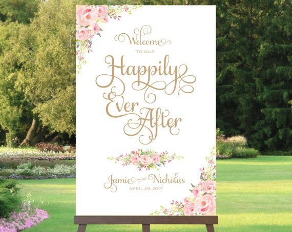 #weddings #welcome #sign #happily #ever #after #affordable #printable