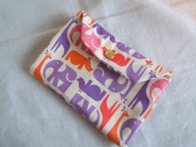 Pretty purse, made from cotton patterned with animals £6.50