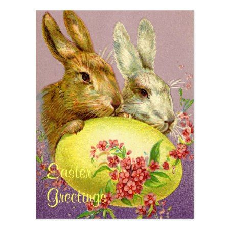 Easter Bunnies and Egg Vintage Postcard - click/tap to personalize and buy