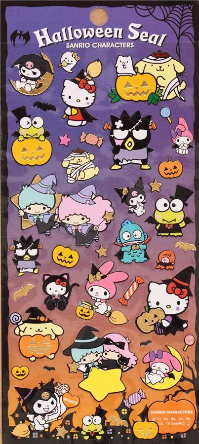 lindas pegatinas de Sanrio con Hello Kitty, My Melody, Little Twin Stars, Kuromi con disfraces, calabaza, escoba de bruja, fantasma, etc.