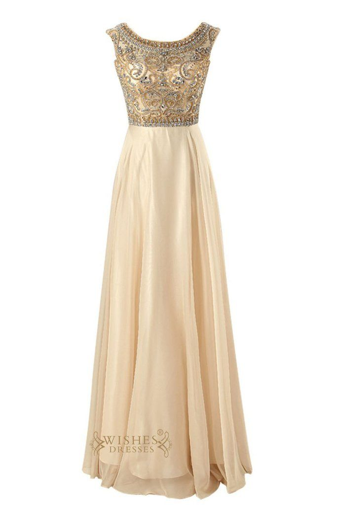 This glamorous full-length chiffon evening gown will truly make you the queen of the prom. The illusion, round neckline with beaded bodice and cap sleeves are fully beaded with heat-set rhinestones an