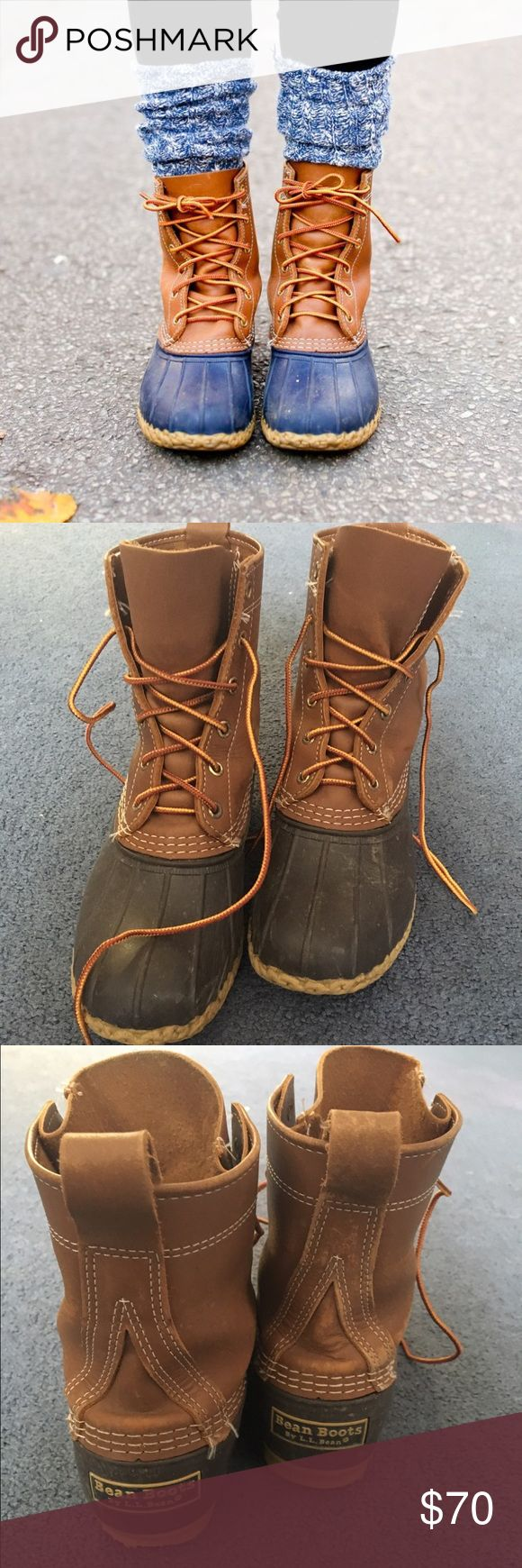 LL Bean Boots LL Bean Duck Boots! These are worn but they are still in excellent condition! Only slight discoloration in leather on side of right boot. Will be cleaned before shipping L.L. Bean Shoes Winter & Rain Boots