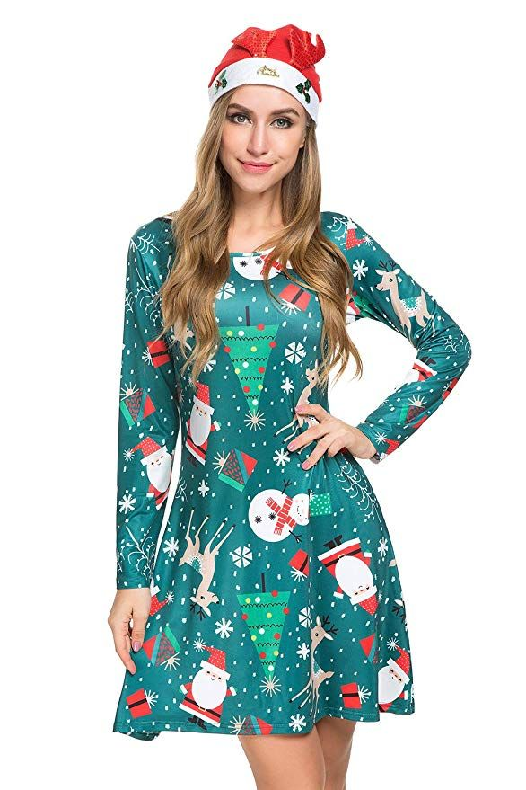 9b304d70ec5df Womens Christmas Dress Long Sleeve Pullover Swing Flared Cocktail Party  Dresses A Line Xmas Midi Dress