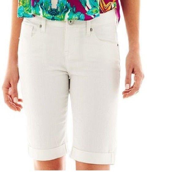 a.n.a Thick Stitch white Denim Bermuda Shorts women's petites size ...