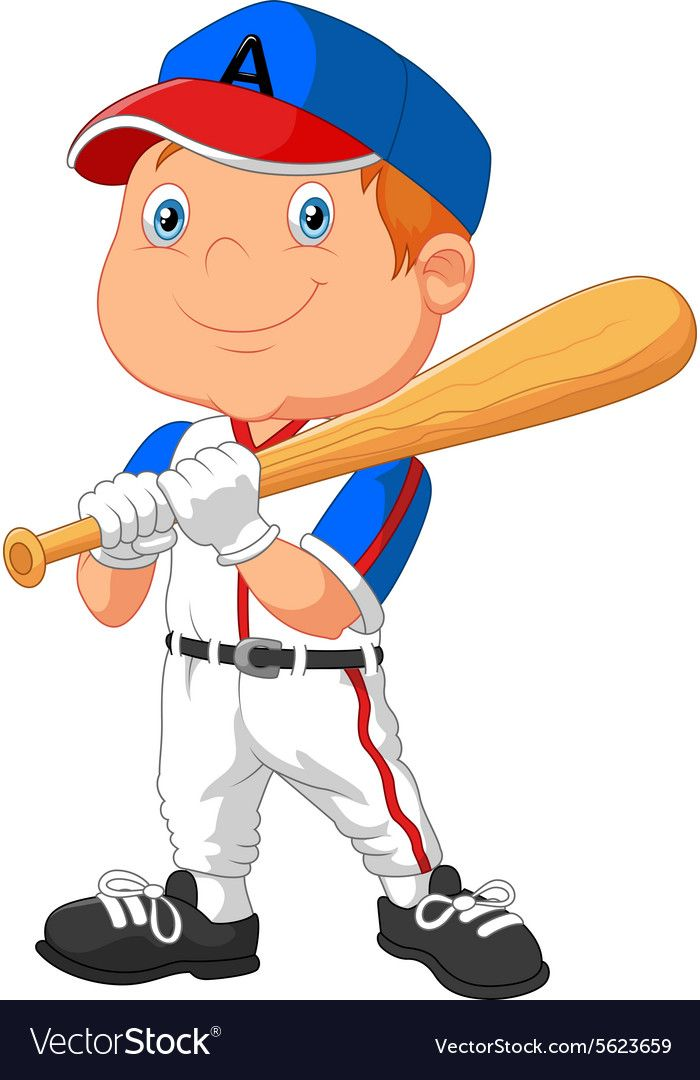 Cartoon Kid Holding The Playing Baseball Vector Image On Vectorstock In 2020 Baseball Vector Cartoon Kids Kids Playing Baseball