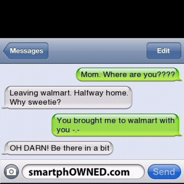 """My mom used to do this to mu brother and I all the time...but she made us walk home (for not """"staying with her""""). LOL"""