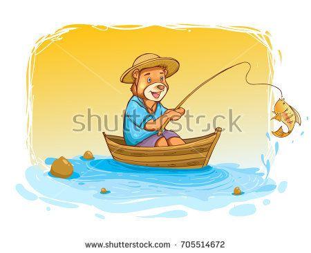cute bear fisher, cover design, wallpaper, children book, vector cartoon illustration