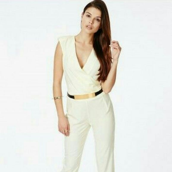 Crossover tailored cream jumpsuit Pants Jumpsuit Missguided Other