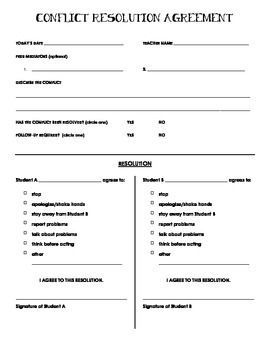 This conflict resolution form is for use when two students need to come to an agreement regarding behavior toward one another. There is an option to have peer mediators help with the conflict resolution. Enjoy this great, free tool!