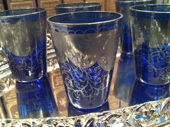 Silver Overlay Cobalt Glasses Victorian Era Antique by RegencyMod, $39.00