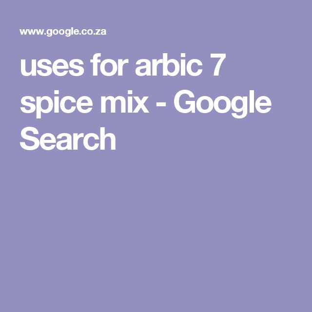 uses for arbic 7 spice mix - Google Search