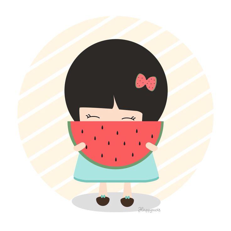 Sandía - ilustración de verano Happynois #watermelon #drawing