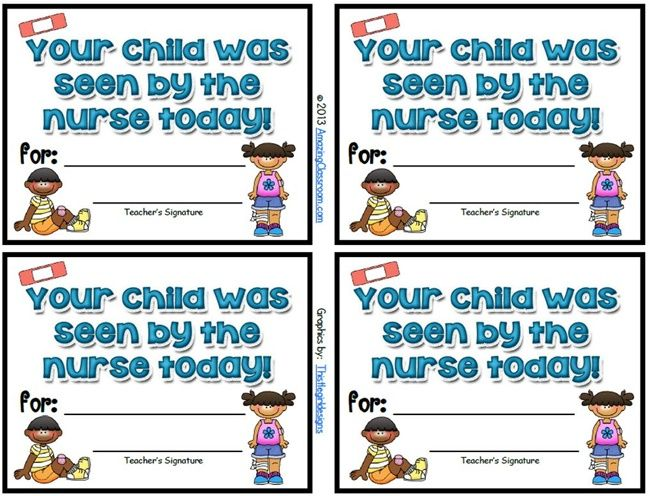 Send home a parent friendly school nurse note. Here is a free download for a quick note to parents that the teacher or the school nurse can use.