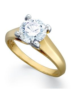 2cttw diamond engagement ring, certified, round-cut diamond  in a  18k yellow  gold setting.