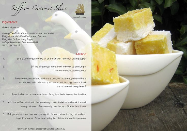 Saffron Coconut Slice. A great treat for visitors or an afternoon snack.