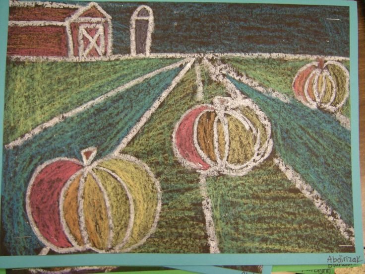 In Art class, 4th graders learned the different parts of a landscape; foreground, middleground, background and horizon line. Then they learned how to create depth in their artwork by drawing three different size pumpkins.