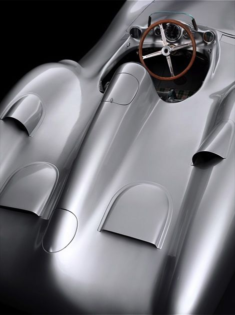 """Mercedes-Benz W 196 'Silberpfeil', 1955. The model got its name of Silver Arrow because the car was weighing one kilogram more than it was allowed for particiapting in the Nürburgring race in June 1934.""    ""The Mercedes-Benz team of mechanics scrapped off the traditionally white paint until they reached the silver aluminium of the body, to comply with the regulations."""