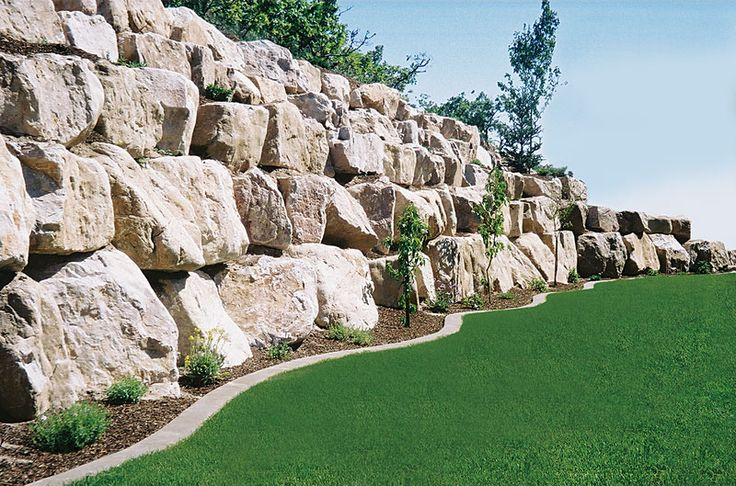 curbing with natural rock retaining wall - Google Search
