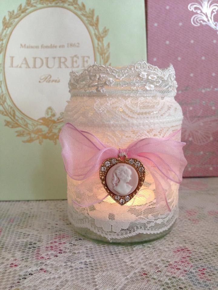 love this!!!!! Tea light jar with cameo ~ Mason jar craft