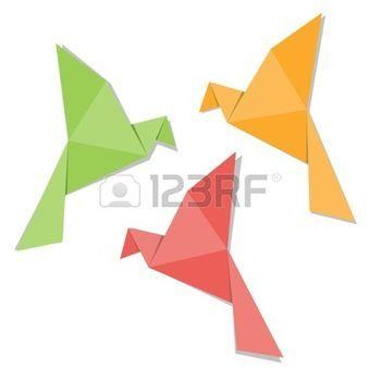 origami gru: Origami uccello di carta isolato su sfondo bianco Vettoriali