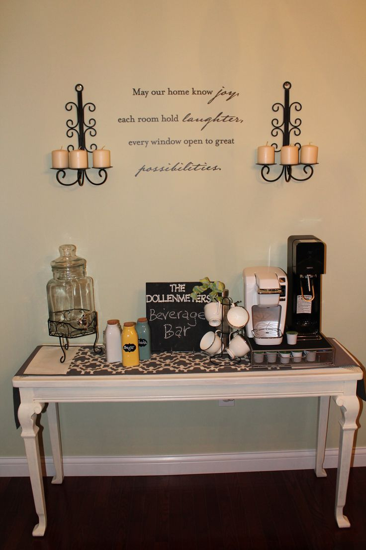 Our most recent pinterest project....a beverage bar in the dining room:)
