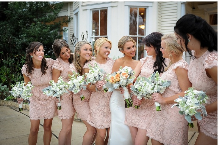 Peach Lace Bridesmaid Dresses Karis Wedding Pinterest