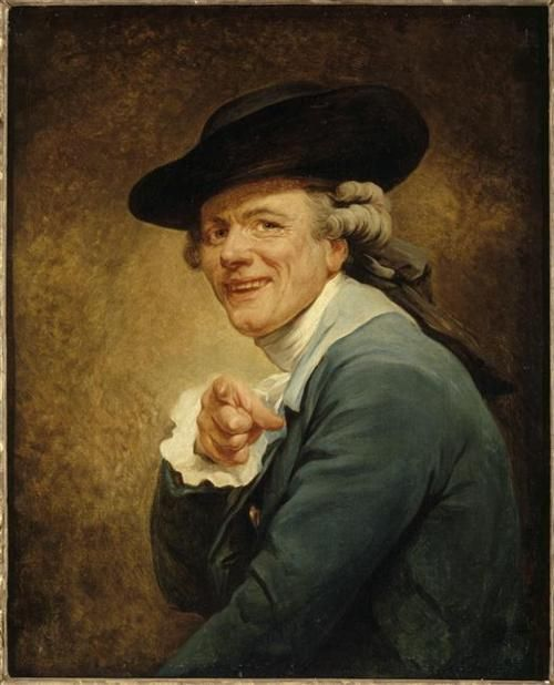 """Joseph Ducreux  Self-Portrait (c.1793)  """"Un moqueur montrant du doigt"""""""