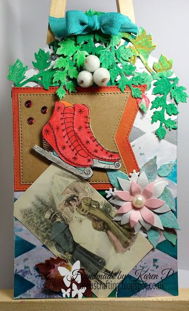 Karen's Crafting Obsessions: December Mixed Media Tag  with Rubber Dance Stamps