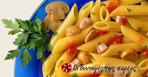 Barilla Penne Rigate με μανιτάρια και πανσέτα #sintagespareas