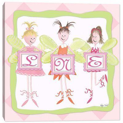 Doodlefish Fairy Friends Monogram Canvas Art