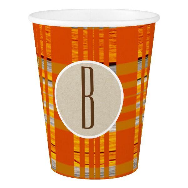 Orange Plaid & Brown Kraft Rustic Monogram Initial Paper Cup #halloween #holiday #drinkware #party #cups