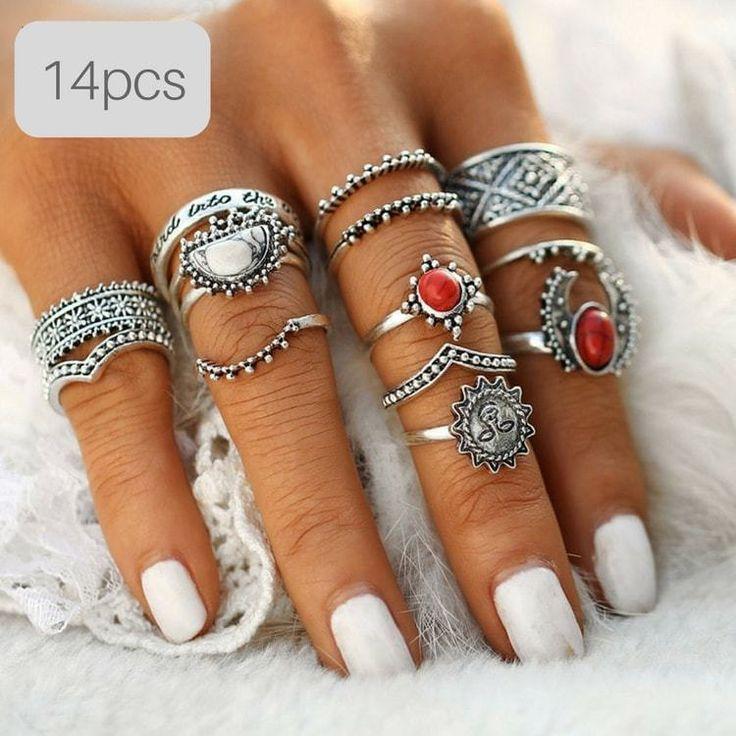 Boho Retro Style Knuckle Ring Sets