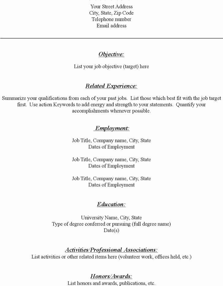 Blank resume template pdf best of download blank resume