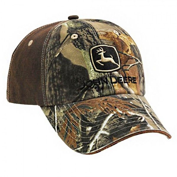 John Deere Realtree AP HD Earth Camo Leather-Like Cap ($18) ❤ liked on Polyvore featuring accessories, hats, camo cap, leather cap, camo hat, leather cap hat and caps hats