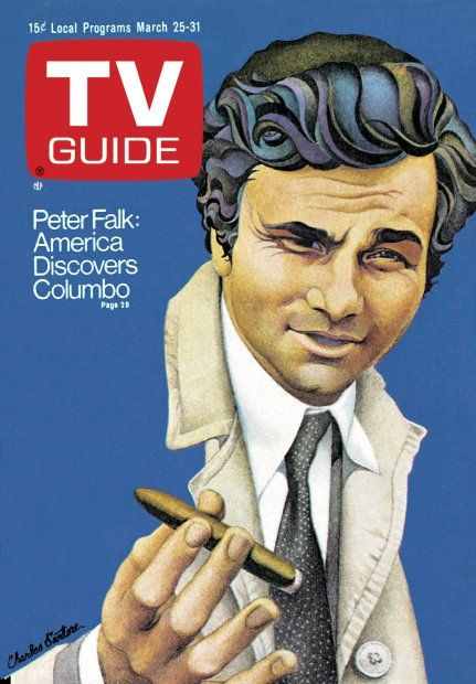 TV Guide March 25, 1972 - Peter Falk of Columbo.  Illustration by Charles Santore.