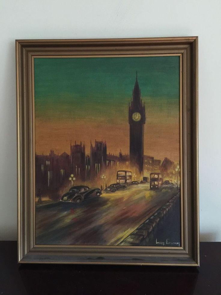 MID CENTURY ORIGINAL ART PAINTING SIGNS LONDON 1950S CARS BIG BEN NIGHT SCENE
