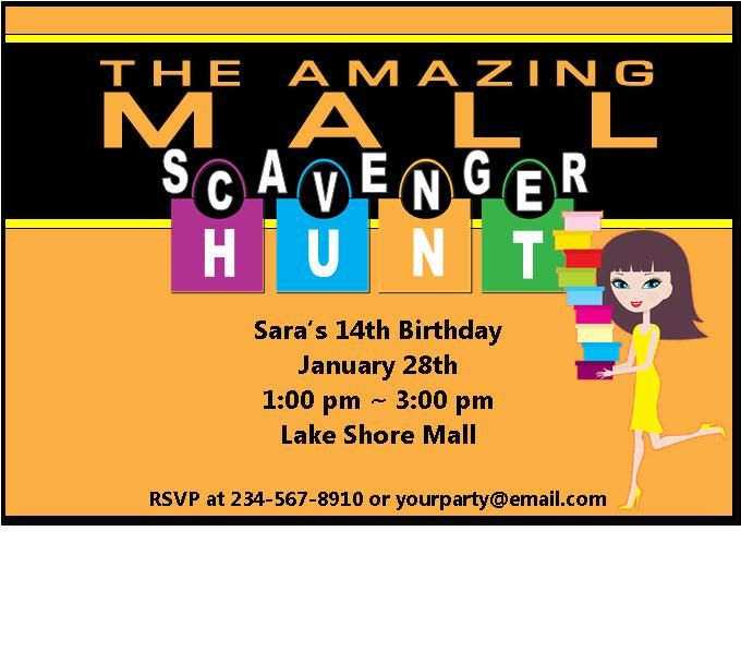 13 best mall party images on pinterest scavenger hunt birthday the ultimate mall scavenger hunt party kit comes with editable scavenger list invitations and team badges perfect for your teen mall party filmwisefo Images