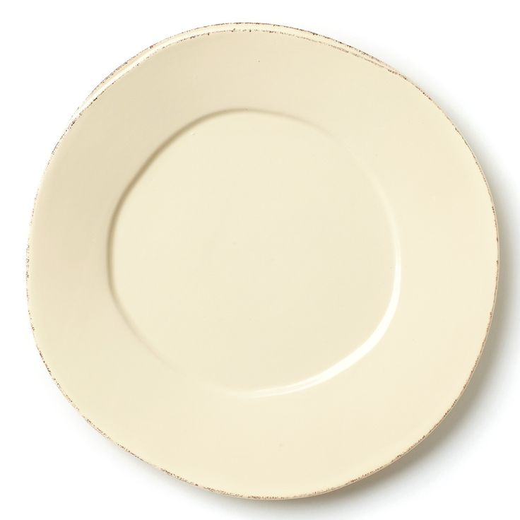 Set your table with the rustic and clean look of our Lastra Cream Dinner Plate. Inspired by an overlapping wooden mold used for centuries to form cheeses throughout Italy and crafted of durable Italian stoneware, this collection is classic and versatile and will be used for years to come.